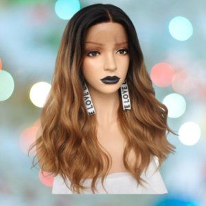 👉BOGO Synthetic Lace Front Wig Brown Wavy Long